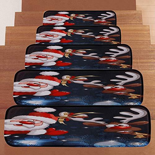 Weihnachtsteppich Treppe Weihnachtsdekoration Rentier Elch Weihnachtsmann Schneemann Rutschfester Korallenvliesfester Treppenteppich - 5er Pack -