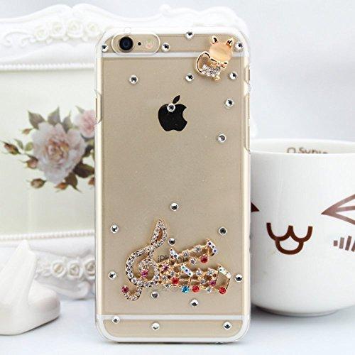 iPhone 6Plus/iPhone 6S Plus PC éclat brillant strass Coque, newstars stéréo papillon strass cristal diamant Transparent Plaqué Bumper Coque de protection pour iPhone 6Plus/iPhone 6S Plus léger coque Diamond -Musical Note