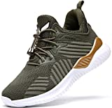 Chaussures de Course Femme Fitness Baskets Mode Fille Garçon Running Sneakers(Vert 31 EU)