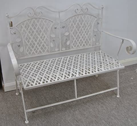 Antique White Metal Rose Garden Bench With Scroll Arms