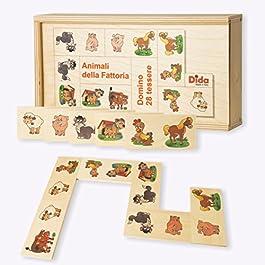 Dida – Domino Animali della Fattoria. Mucca, Gatti, Cani, Gallina, Pecora e maialini illustrati nel Domino Gioco da Tavolo con Tessere e Scatola di Legno per Bambini.