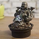 zen' Light Buddha Reisenden Fontaine, Kunstharz, bronze, 17x 17x 22cm