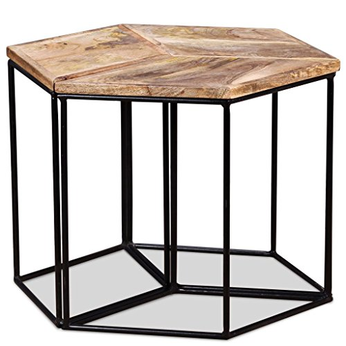 Festnight Table Basse Design en Bois de Manguier Massif 48 x 48 x 40 cm