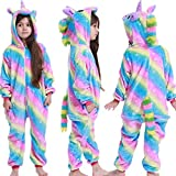 Hiwill Bambini Unisex Kigurumi Pigiama Onesie, Ragazza Ragazzo Anime Cosplay Halloween Natale Party Costume Attrezzatura Sleepwear (Rainbow,6T)