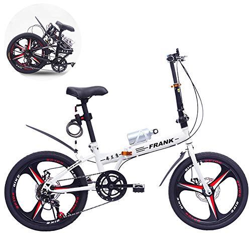 FJW Unisex Faltrad 20 Zoll 7 Geschwindigkeit Doppelscheibenbremse Aluminiumlegierung Integriertes Rad Student Kind Pendlerstadt Fahrrad,White