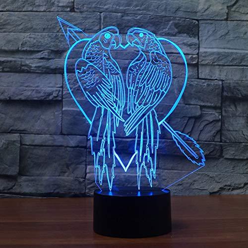 WZYMNYD Romantic Love Design 3D Nachtlicht töten zwei Fliegen mit einer Klappe 7 Farben ändern als Geschenk oder Honigt ()