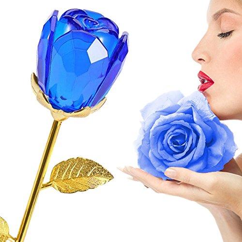 Rosa, germoglio in cristallo, stelo in oro da 24 carati, ideale come regalo per la festa della mamma, san valentino, anniversario, nozze, compleanno