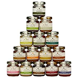 15x50g Honig Probierset zum Kennenlernen, enthält 15 verschiedene Honige u.a. Manuka, Buchweizen, Laetherwood und Thymian Honig