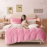 Simonshop Dick Warmer Flanell Fleece Bettbezug Sets 4 Luxus Kaschmir Betten-Set Queen King Size, Rose, Queen