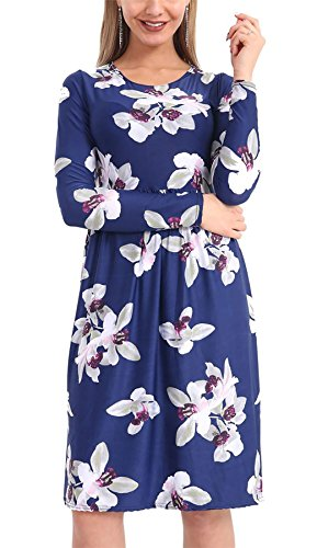 Islander Fashions Womens Floral Imprimer Frankie fume vase Swing Dress dames manches longues fantaisie robe de soire S / 3XL Navy White Lilly