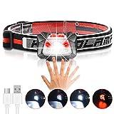 Stirnlampe LED USB Aufladbar, Karrong Sensor Wasserdicht Kopflampe mit Rotlicht, Leicht Stirnlampen, 5 Modi für Outdoor Kinder Sport Joggen Laufen Angeln