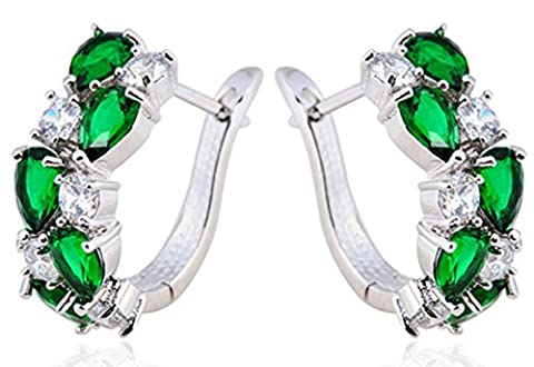 SaySure - Hoop Earrings 10KT White Gold Filled Zircon Stone