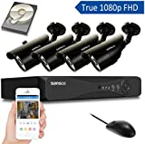 SANSCO S4D4C1T All-in-One Smart CCTV Camera System with 1080N DVR and 4 HD 1.3 MP, Black 1 Pack