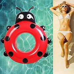 Flotador Hinchable con Forma de La Mariquita para Piscina Playa WEINAS® Flotador Inflable Gigante para Adulto, Flotador de Piscina