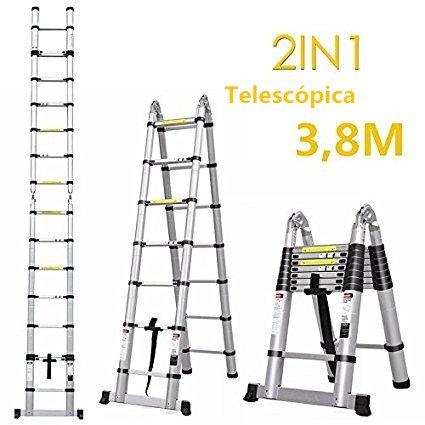 Fixkit 3,8M Escalera Telescópica de Aluminio, Fuerte Estabilidad, Portátil Multiuso con Barra de Equilibrio Antideslizante y Ruedas en Parte Inferior (Carga 150 KG, 12.5FT, Expandible, Plegable)
