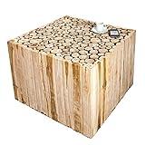 Massiver Teakholz Couchtisch MOSAIK 60cm Beistelltisch aus Massivholz Holztisch Handgefertigt