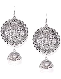 Zaveri Pearls Finely Designed Antique Silver Tone Dangling Jhumki Drop Earring For Women-ZPFK6788
