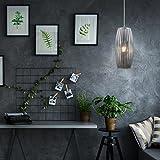 Briloner Leuchten - LED Hängelampe, Hängeleuchte, rauch-chrom, oval, Retro/Vintage Design, Glas-Metall, E27, 14 x 120 cm