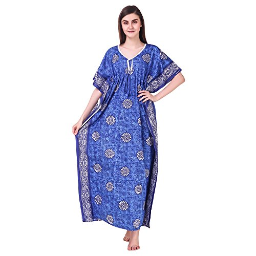 MILIT 100% Pure Cotton Floral Print Kaftan Nighty Free Size fits up...