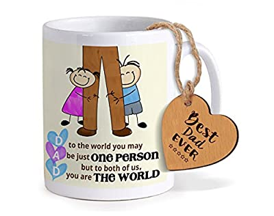 Tied Ribbons Birthday Gift for Father Printed Coffee Mug(325ml,Ceramic) with Wooden Tag