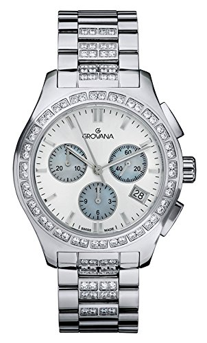 GROVANA 5096.9735 Unisex Quartz Swiss Watch with White Dial Chronograph Display and Silver Stainless Steel Bracelet
