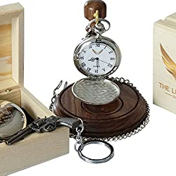 Signed John Wayne Pocket Watch and Revolver Keychain Free Engraving personalised Wooden Box Custom Engraved AND Luxury Wooden Display Stand