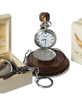 Von John Wayne signierte Taschenuhr mit Revolver-Schlüsselanhänger, mit Gratis-Gravur, in einer personalisierten...