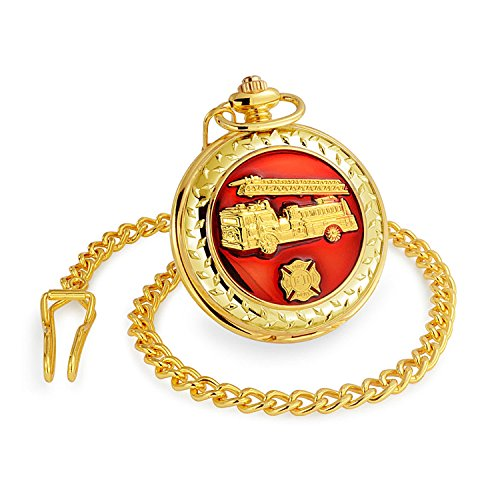 Large Red Enamel Fire Engine Firefighter Quartz Silver Gold Plating Mens Pocket Watch (Fdny Engine)