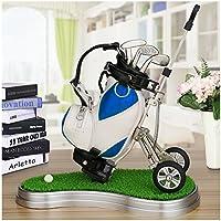 crestgolf Piel Sintética Azul Golf Cart, forma de bolígrafo y tarjetero de golf con 3Golf Gear bolígrafos/de plástico estera de césped (una variedad de colores para su referencia), Unidades 1pcs