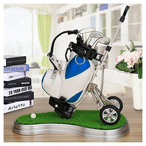 crestgolf Stylo Chariot de golf, golf Bleu en Cuir PU Support avec 3stylos en forme de golf...