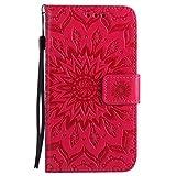 Chreey Samsung Galaxy S5 Hülle, [Prägung Indische Sonne] Lederhülle Sonnen Blume Brieftasche Wallet Tasche Magnet Flip Case Handyhülle Etui mit Kartenfach Ständer [Rot]