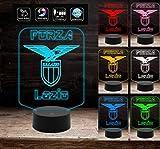 Sport Calcio FORZA LAZIO Gadget Lampada a led 7 colori selezionabili da tavolo Stemma Aquila Compleanno a batteria + cavo micro USB da tavolo o scrivania Decorazione della casa Night Light