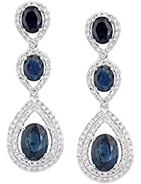 Revoni - 18ct White Gold Diamond and Sapphire 3 Layer Teardrop Dangle Drop Earring