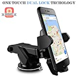#4: Lista Adjustable Mobile Holder/Mobile Stand/Car Stand with Quick One Touch Technology for Mobiles Phones (Black)