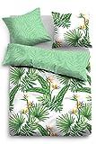 TOM TAILOR 69850 Satin-Wendebettwäsche-Set aus Baumwolle glänzend glatt grün, Groesse OneSize, grün/weiß