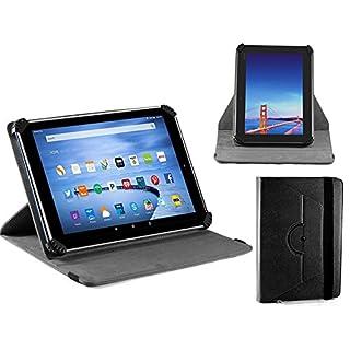 Navitech schwarz Ledertasche / Abdeckung mit 360 Drehständer für die Arespark 10.1 Inch Tablet PC, A33 Quad Core CPU,8GB HDD, WIFI