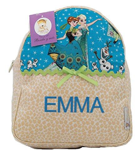 Imagen de bordaymas/ infantil de frozen personalizada con nombre en plastificado estampado beige