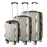 Monzana Ikarus 3er Set Koffer | Champagner M, L, XL | USB-Port TSA-Schloss | Reisekoffer Trolley Kofferset Rollkoffer