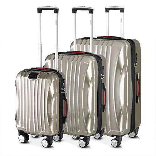 Monzana® Ikarus 3er Set Koffer | Champagner M, L, XL | USB-Port TSA-Schloss | Reisekoffer Trolley Kofferset Rollkoffer