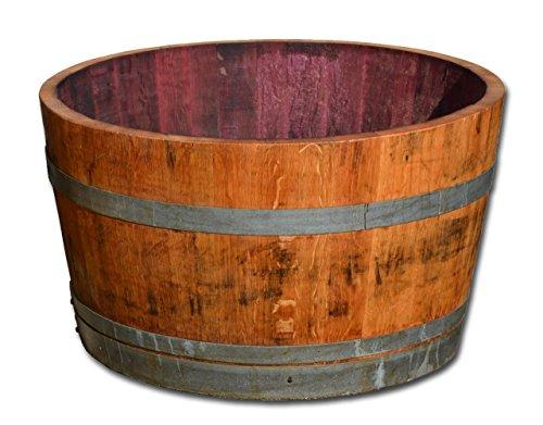 Holzfass als Pflanzkübel, Weinfass halbiert geölt (D70 cm)