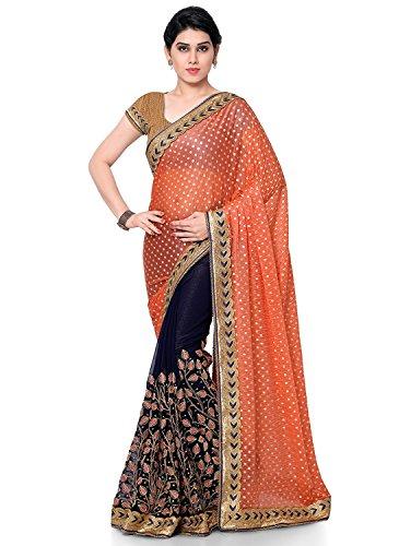 Panash Trends Women's Brasso & Lycra Heavy Work Half & Half Saree(UJJ.K660D_Orange...