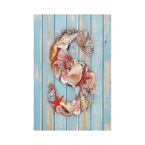 Liumiang Eco-Friendly Manual Custom Garden Flag Demonstration Flag Game Flag,Letter S,Various Seashells Scallops Starfishes on Wooden Planks Nautical Decorative,Pale Blue Ivory Dark Coraloor d¨¦COR Ivory Scallop