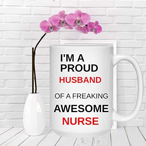 Mike21Browne Ich Bin EIN stolzer Ehemann von Freaking Awesome Krankenschwester Geschenk f¨¹r ihre Geburtstagsgeschenk Krankenpflege Graduation Krankenschwester Becher Graduation Gift Stolzer Ehemann