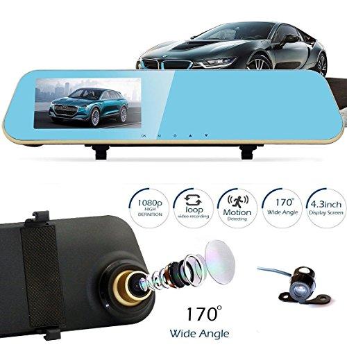 """Heliomax cámara de 4,3 """"TFT Espejo retrovisor de coche TFT + CCD para la parte posterior del coche de grabación Full HD 1080p"""