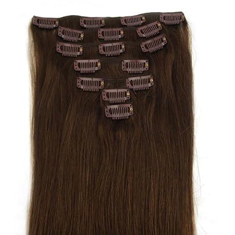 Extensions de cheveux humains à clip 100% Remy Hair 4# Couleur Chocolat Longueur 38 cm Poids 70 grams