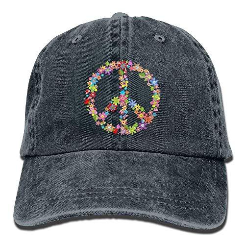 Xukmefat Floral Peace 3 Denim Hat Adjustable Womens Baseball Cap 0677 -