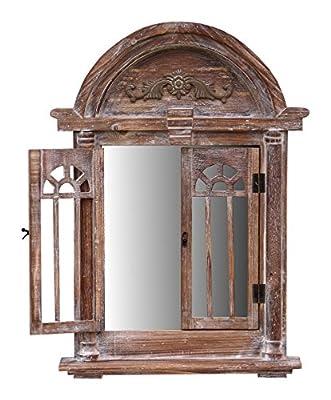 Spiegelfenster Rundbogen mit Fensterläden und kleiner Ablage - aus Holz - im Landhaus Stil - Braun - 47cm x 63cm