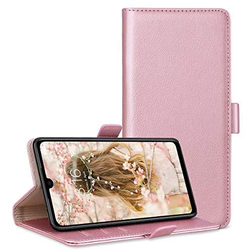 RuiPower para Funda Xiaomi Redmi Note 7 Carcasa Libro con Tapa Flip Folio Case de PU Cuero Silicona Soporte Plegable Ranuras Tarjetas y Billetera Magnético Ultra-Delgado Cover - Oro Rosa