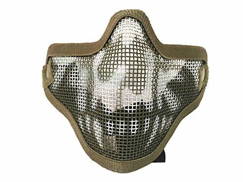 AIRSOFT Tactical Ghost Mesh Maske Paintball Half Face Schutz Maske Halloween-Kostüm htuk®, grün
