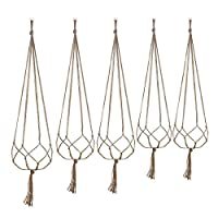 Plant Hanger Set of 5 Hanging Planter Flower Pot Plant Holder with Key Ring for Indoor Outdoor Decorations, 2 Pieces 105 cm and 2 Pieces 88 cm, 4 Legs